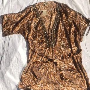 Kaftan satin print embellished tunic